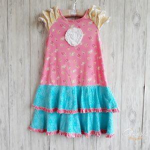 Jelly the Pug Ruffle Pink Tatiana Dress Size 8